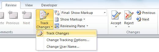 Track Changes - Microsoft Word Document