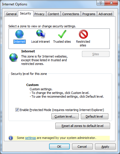 Internet Explorer - Internet Options