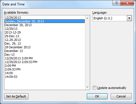 Microsoft Word - Date and Time dialog