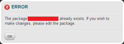 WHM - ERROR - Package already exists.
