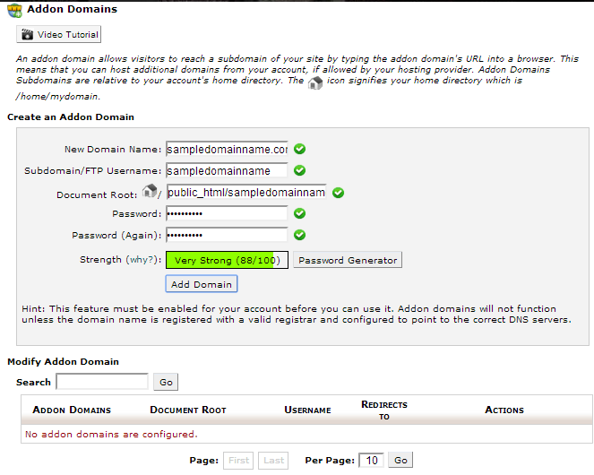 cPanel - Addon Domains page