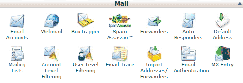 """cPanel - """"Email Accounts"""" link"""