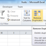Excel - Remove duplicates