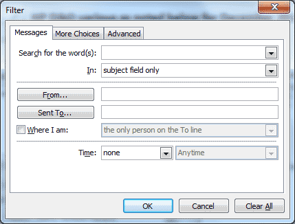 Microsoft Outlook - Import and Export Wizard - Filter dialog