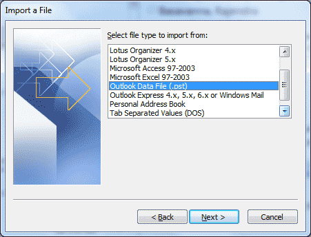 Microsoft Outlook - Import and Export Wizard Import a file
