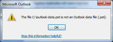 Microsoft Outlook - Import and Export Wizard - Not an Outlook data file