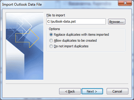 Microsoft Outlook - Import and Export Wizard - Select a file to import