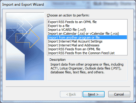 Microsoft Outlook - Import and Export Wizard