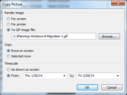 Microsoft Project - Copy Picture dialog