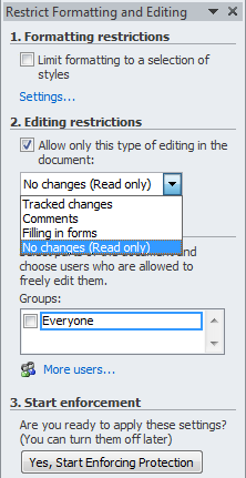 Microsoft Word - Editing Restrictions - Allowed Types