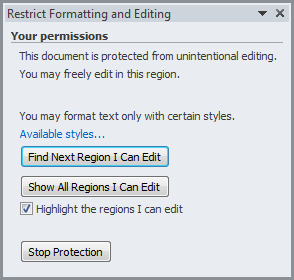 Microsoft Word - Restrict Formatting and Editing - Your Permissions