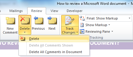 Microsoft Word - Review - Delete comments