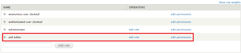 Drupal - People - Roles page with added new role