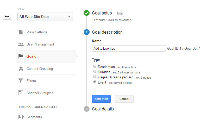 Google Analytics - Goal description