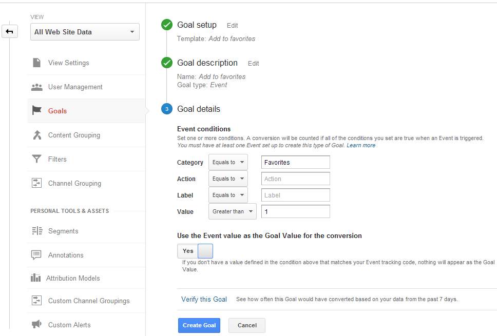 Google Analytics - Goal details