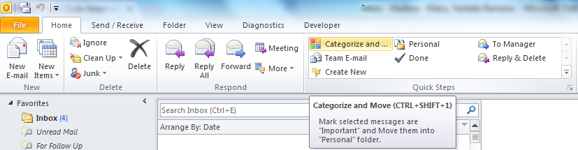 "Microsoft Outlook - ""Quick Steps"" group with new item"