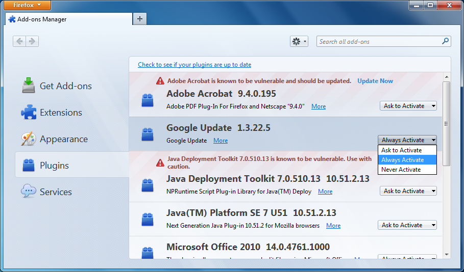 """Mozilla Firefox - """"Add-ons manager"""" page"""