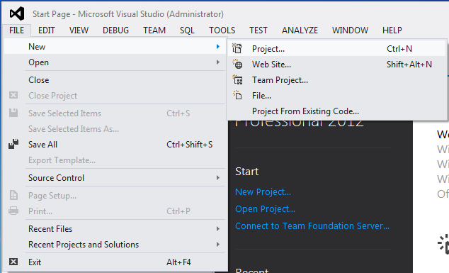 Visual Studio - File - New menu