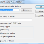 WinZip - Self-Extractor dialog