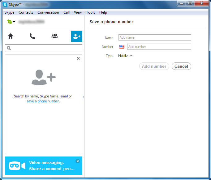Skype - Add Contact - Save a Phone Number