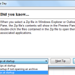 "WinZip - ""WinZip Tip of the Day"" dialog"