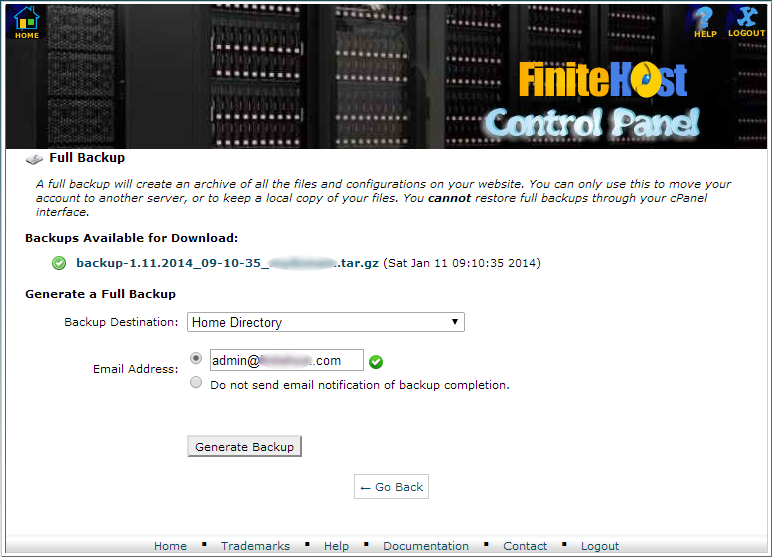 """cPanel - """"Full backup"""" page"""
