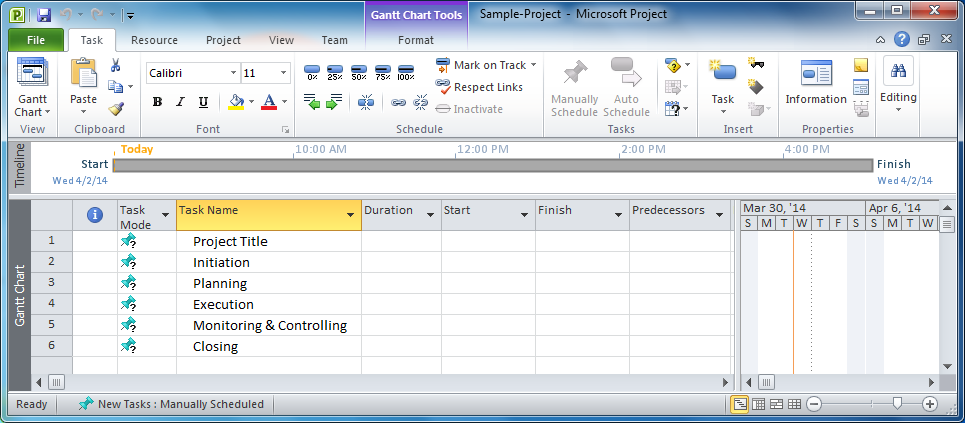 Microsoft Project Creating a Project Plan Code Steps – Microsoft Project Sample