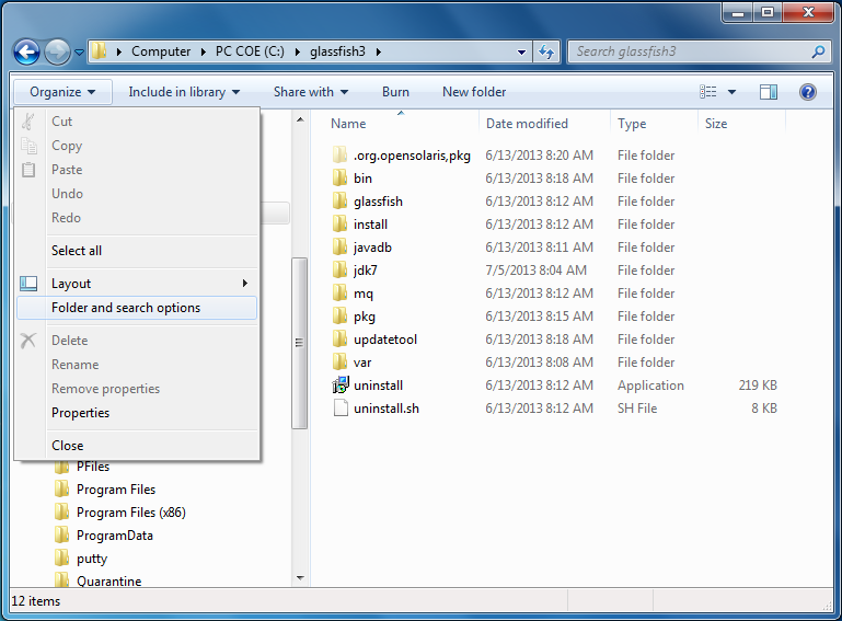 "Windows Explorer - ""Folder search options"" menu"