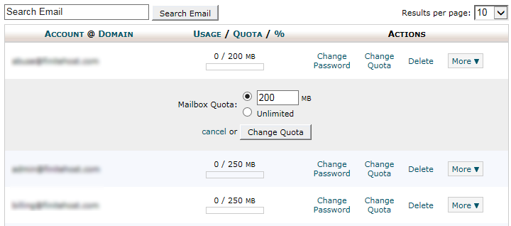 cPanel - Email Account - Change Disk Quota