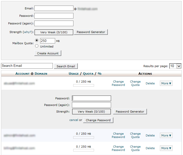 cPanel - Email Account - Change Password