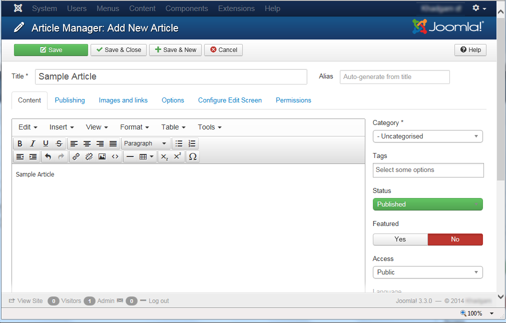 "Joomla 3 - ""Article Manager: Add New Article"" page"