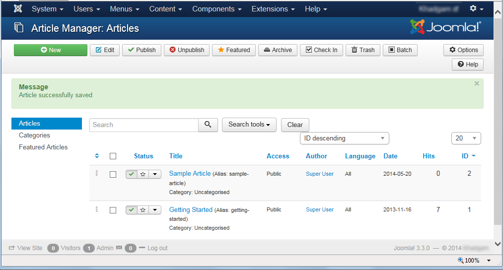 "Joomla 3 - ""Article Manager: Articles"" page"
