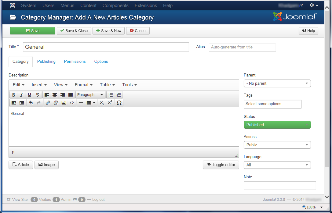 """Joomla 3 - """"Category Manager: Add A New Articles Category"""" page"""