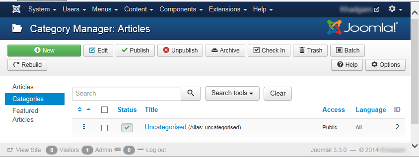 """Joomla 3 - """"Category Manager: Articles"""" page"""