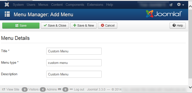 "Joomla 3 - ""Menu Manager: Add Menu"" page"