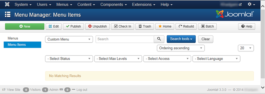 "Joomla 3 - ""Menu Manager: Menu Items"" page with no items"