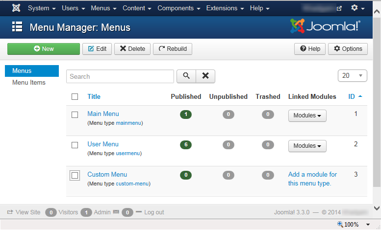 "Joomla 3 - ""Menu Manager: Menus"" page with ""Custom Menu"""