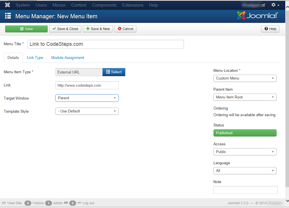"Joomla 3 - ""Menu Manager: New Menu Item"" page"