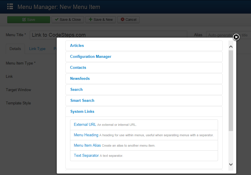 Joomla 3 - Select Menu Item type