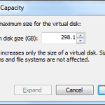 "VMware Virtual Machine - ""Expand Disk Capacity"" dialog"