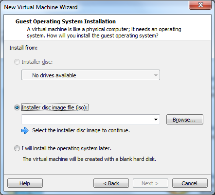 "VMware Workstation 10 - ""Guest Operating System Installation"" window"