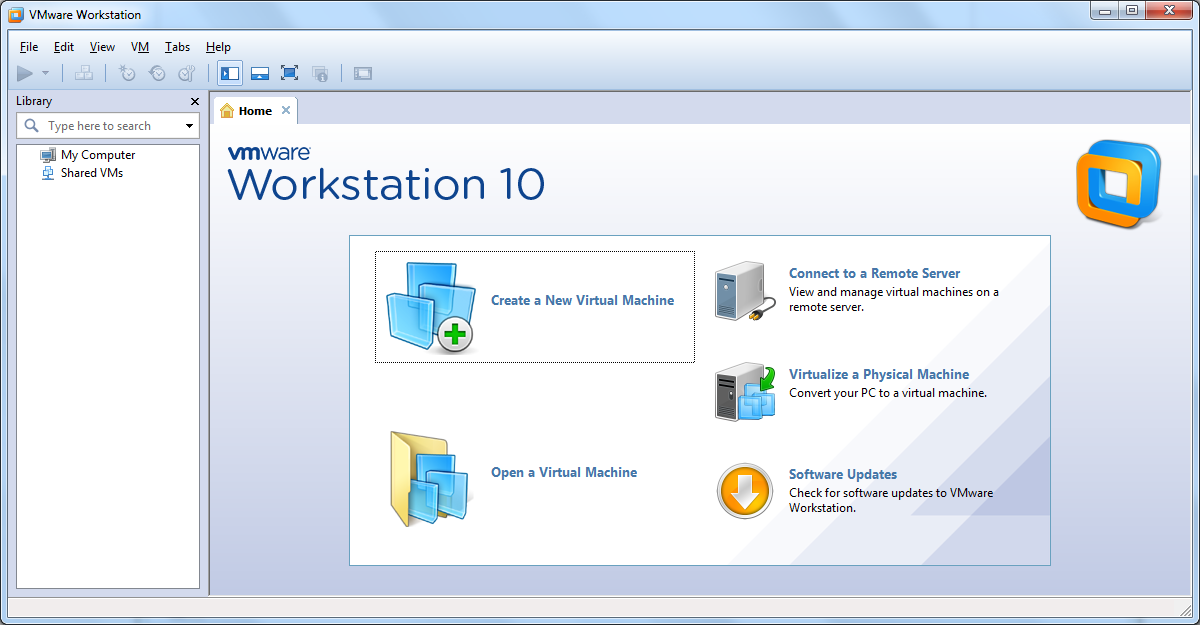 VMware Workstation 10 - Home page