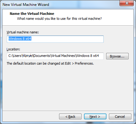 "VMware Workstation 10 - ""Name the Virtual Machine"" window"