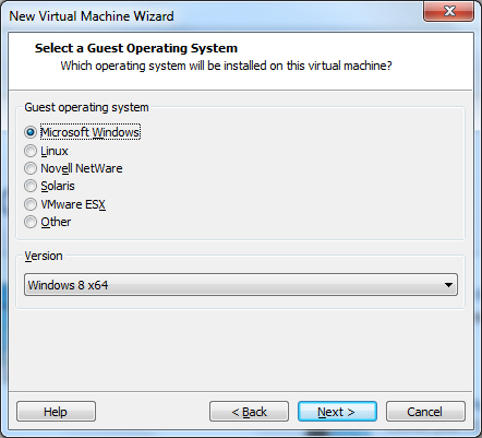 "VMware Workstation 10 - ""Select Guest Operating System"" window"