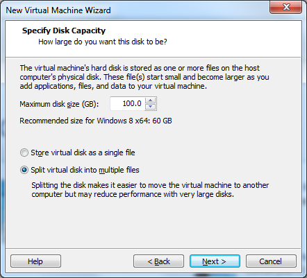 "VMware Workstation 10 - ""Specify Disk Capacity"" window"