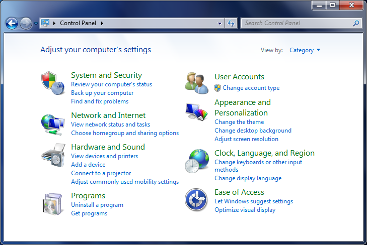Windows 7 - Control Panel window
