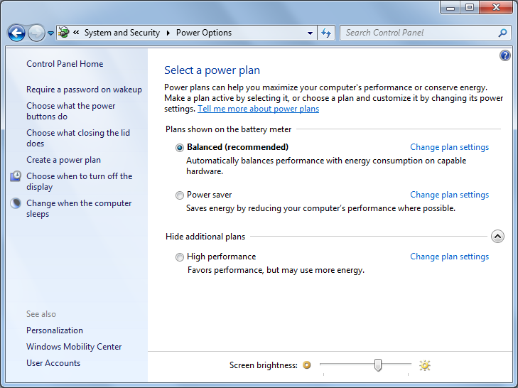"Windows 7 - ""Power Options"" window"