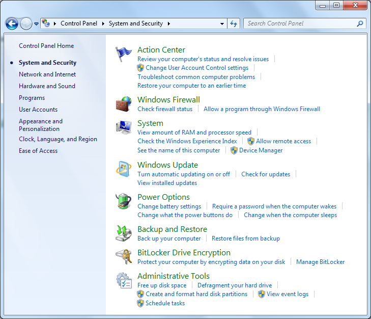 "Windows 7 - ""System and Security"" window"