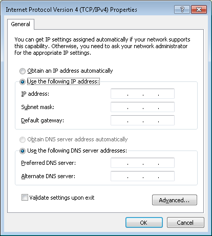 "Windows - ""Internet Protocol Version 4 (TCP/IPv4) Properties"" dialog"