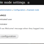 "Drupal 7 - Configuration - ""Example node settings"" form"